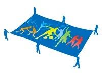 オリンピック競技を映した旗 白背景