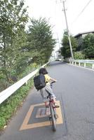 道路を自転車に乗って走る男の子の後ろ姿