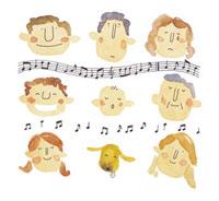 音符と人の顔のイメージ 10340000001| 写真素材・ストックフォト・画像・イラスト素材|アマナイメージズ