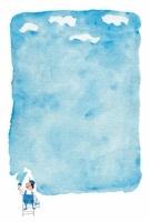 水彩イラスト 空をペイント 10340000021| 写真素材・ストックフォト・画像・イラスト素材|アマナイメージズ