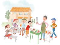 庭でバーベキューをする家族 10340000048| 写真素材・ストックフォト・画像・イラスト素材|アマナイメージズ