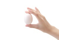 卵を持つ女性の手