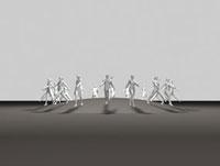 半球から四方へ歩き出す男性と女性