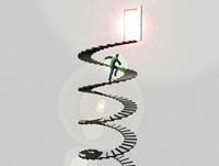 ドアに伸びる螺旋階段を駆け上るビジネスマン