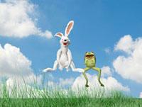 跳ねるウサギとカエル