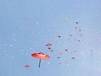 空を飛ぶ傘と桜吹雪