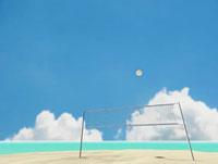 ビーチバレーのネットとボール