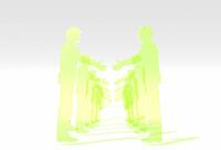 握手をする緑の透明アクリルパネル風ビジネスマンの列