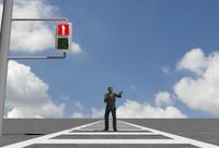 赤信号と天を仰ぐビジネスマン