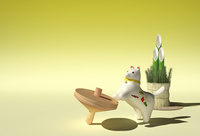 犬の置物と独楽と門松 10361000427| 写真素材・ストックフォト・画像・イラスト素材|アマナイメージズ