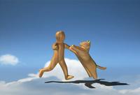 駆け寄る木彫りの犬と少年 10361000441| 写真素材・ストックフォト・画像・イラスト素材|アマナイメージズ