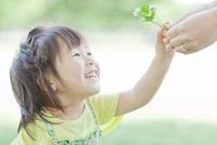 母親から野花を受け取る笑顔の女の子 10367000967| 写真素材・ストックフォト・画像・イラスト素材|アマナイメージズ