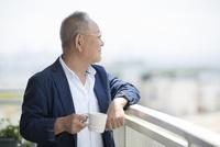 バルコニーで景色を眺めるシニア男性