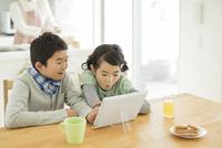 テーブルでタブレットPCを見る兄と妹