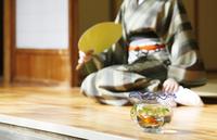 縁側の金魚鉢と和服の女性