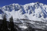 雪が積もった山並み