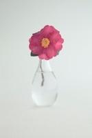 ガラス花器と椿