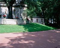 木漏れ日のさす小道と芝生のある建物 10381000228| 写真素材・ストックフォト・画像・イラスト素材|アマナイメージズ