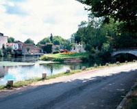 道路沿いの橋のある川と庭園 10381000268| 写真素材・ストックフォト・画像・イラスト素材|アマナイメージズ