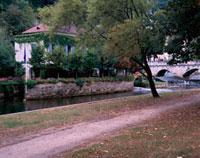 落ち葉の小道と水辺沿いの建物
