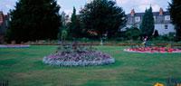 公園の芝生と花壇