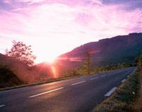 ピンクに染まる空と道路