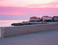 堤防とピンクに染まる空