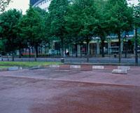 並木道の横の駐車場