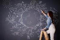 黒板に地球の絵を描く女性