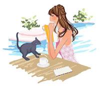 プールサイドの女の子と猫