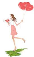 花とハートの風性を持つ女性 10402000034| 写真素材・ストックフォト・画像・イラスト素材|アマナイメージズ