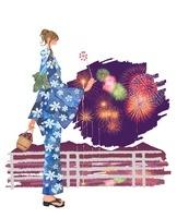 浴衣姿の女の子と花火 10402000045| 写真素材・ストックフォト・画像・イラスト素材|アマナイメージズ