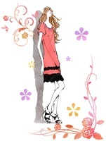 壁際に立つ女の子と花