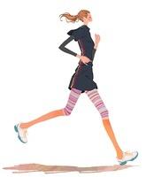 ジョギングするポニーテールの女の子