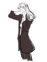 髪を上げるスーツを着た女の子