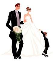 結婚式のウエディングドレスの女性とタキシードの男性と子供