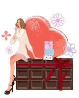 バレンタインの女性とチョコレート