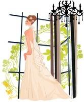 窓辺に立つウェディングドレスの女性