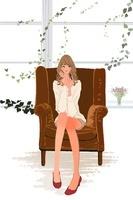初夏、窓辺のソファに座る女性