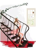 初夏、階段に座る女性