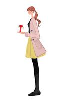 プレゼントを渡すポニーテールの女性 10402000077| 写真素材・ストックフォト・画像・イラスト素材|アマナイメージズ