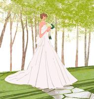 ブーケを持ってウェディングドレスを着た女性