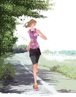 初夏にジョギングをする女性