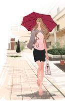 雨の街で傘をさす通勤の女性 10402000091| 写真素材・ストックフォト・画像・イラスト素材|アマナイメージズ