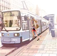 秋、電車に乗ろうとしている女性