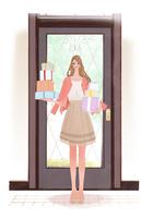春の服装でドアの前に立つ、プレゼントをたくさん持った女性