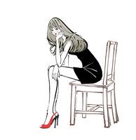 椅子に座り頬杖をつくドレスとハイヒールの女性