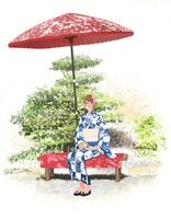 京都で野立て傘のベンチに座りお茶を飲む浴衣の女性