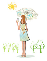 夏に日傘を差し、日焼け止めを塗るワンピースの女性