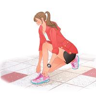 ジョギング前に靴の紐を結ぶポニーテールのしゃがむ女の子